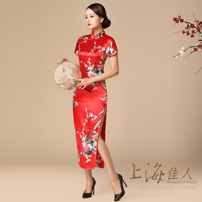 上海佳人 平價旗袍唐裝 全新中國風薄款改良式仿絲印花短袖開岔長旗袍/美麗孔雀/紅色