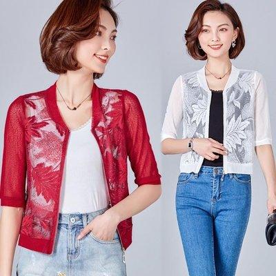 空調衫蕾絲薄開衫五分袖披肩防曬衣網紗短裝外套 LQ5266
