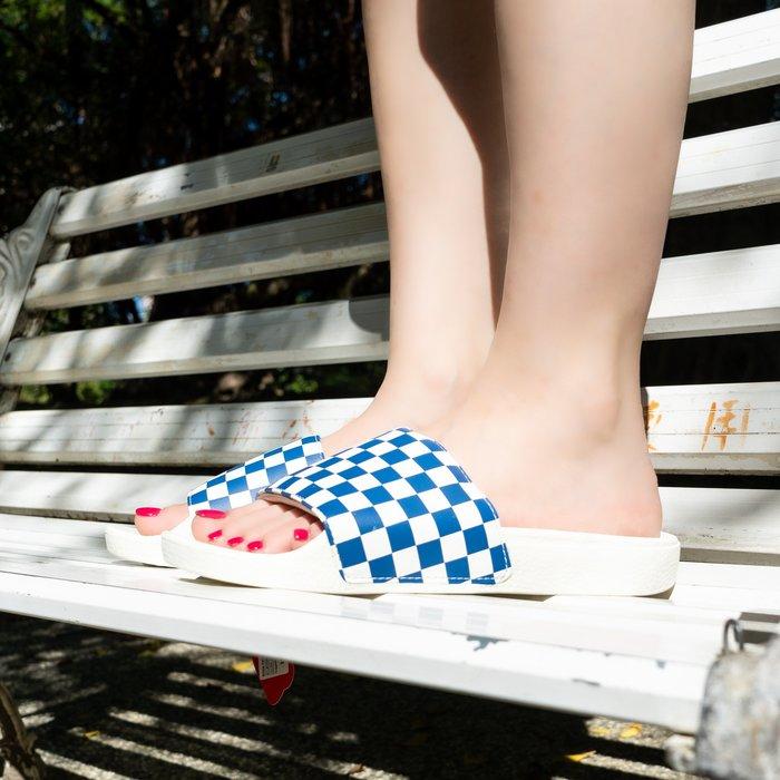 【A-KAY0】VANS SLIDE-ON 拖鞋 棋盤格 藍白【VN0004KIFBV】
