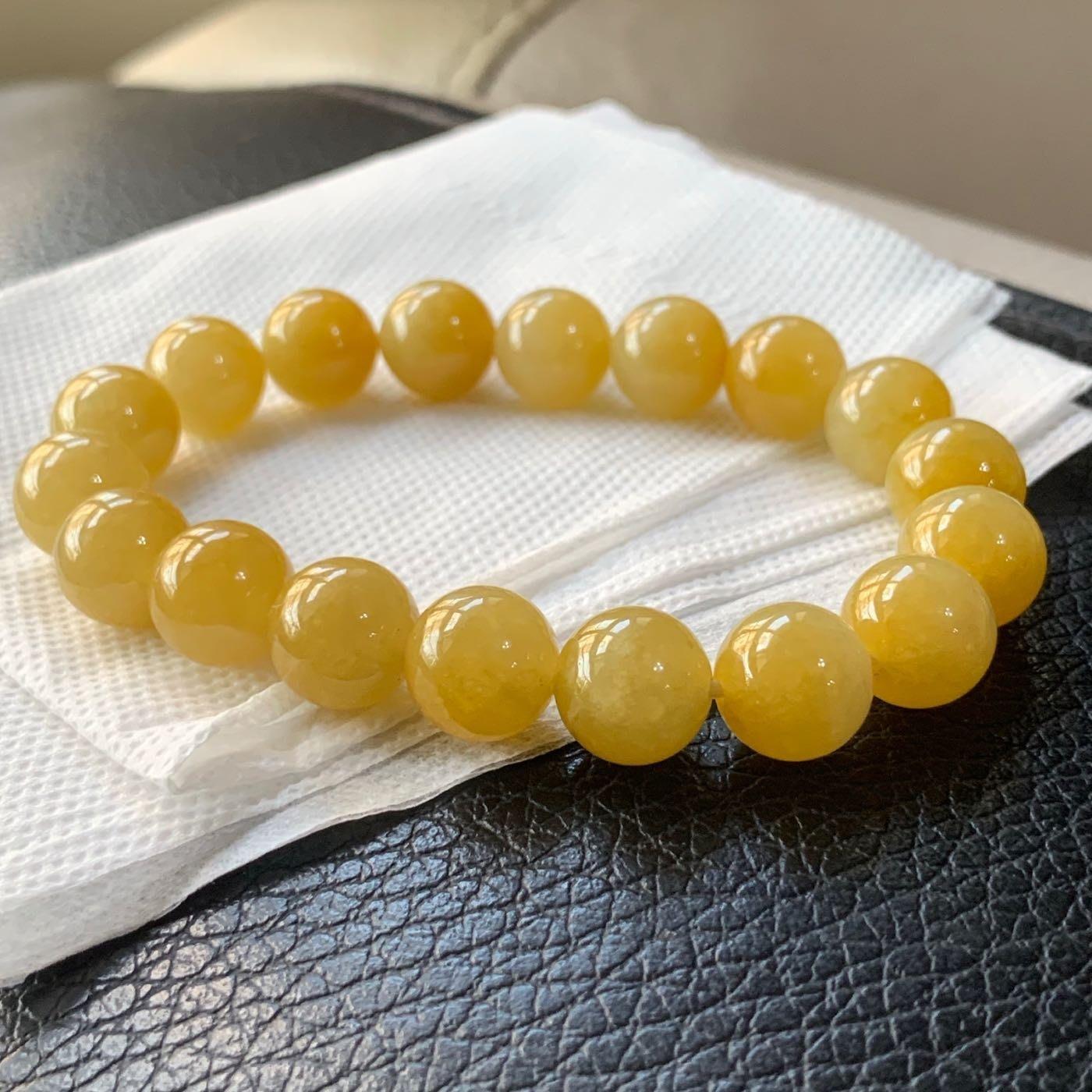 翡翠A貨~11MM蜜糖黃~冰黃翡~玉珠手串手環~珠鏈~手鏈~珠子圓珠