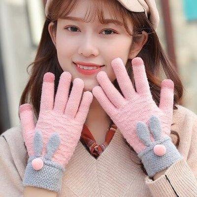 保暖手套女冬季毛線厚保暖韓版可愛ins學生加絨卡通棉毛絨五指觸屏騎