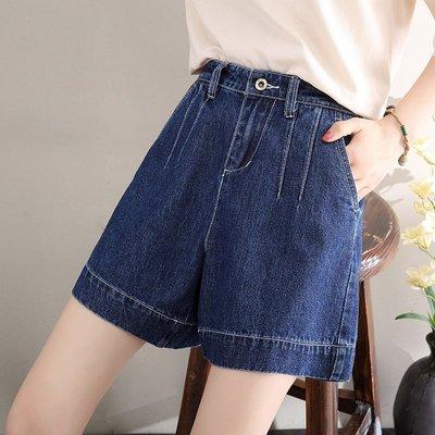 新品2019新款牛仔短褲女高腰顯瘦鬆緊腰寬鬆闊腿學生5分夏季五分熱褲
