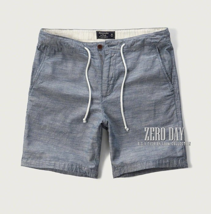 A&F Abercrombie&Fitch Classic Fit Chambray Pull-On Shorts短褲藍