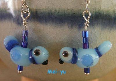 豬豬姨~可愛藍色/綠色/膚色小鳥耳環~玻璃耳環~HANDCRAFTED LAMPWORK ART GLASS BEA