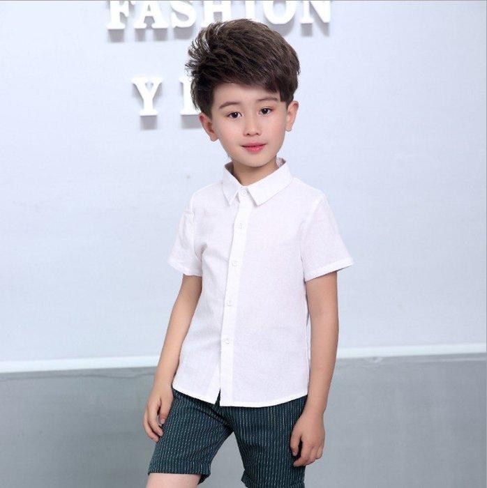 日韓歐美♥韓版中大男童 正式白襯衫 夏日短袖襯衫上衣 表演 演講上衣【CF009】