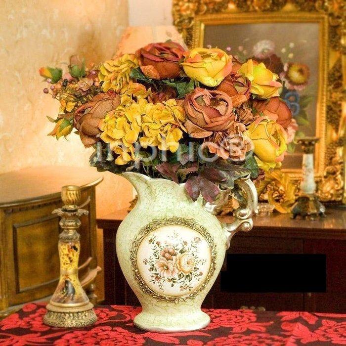 INPHIC-塞維利亞玫瑰花束伊薇特陶瓷花壺 仿真花藝套裝