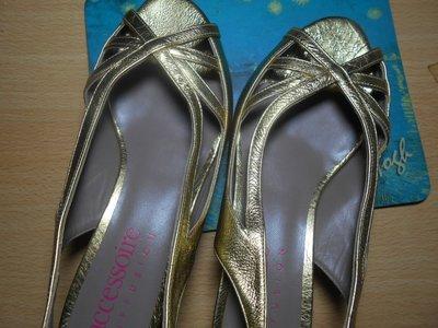 [巴黎妙樣兒3折特惠 ] 法國名牌女鞋Accessoire Diffusion 西班牙製造真皮size38跟5公分晚宴鞋