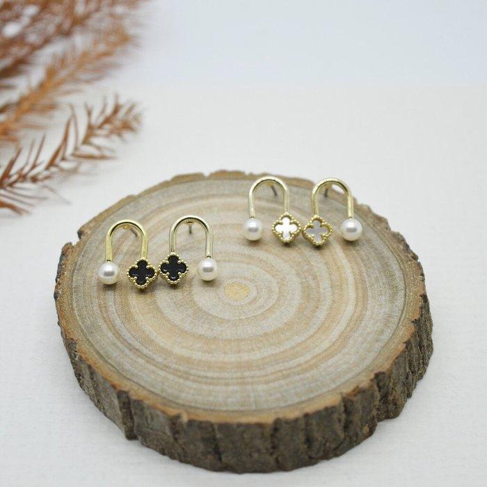 The M 正韓 小清新 系列-珍珠 四葉草 耳環-兩色-抗過敏 鋼針