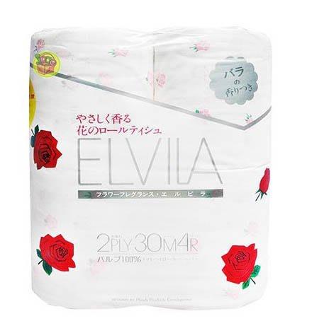 【JPGO日本購】超取最多4包~日本製 四國特紙ELVILA 滾筒式雙層衛生紙 4捲入~溫柔玫瑰香#076