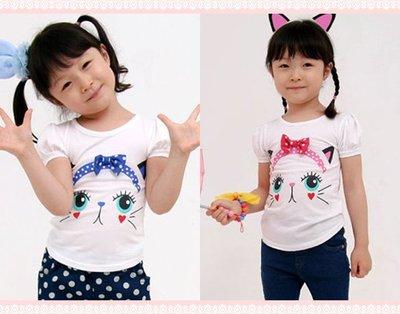 。~ 寶貝可愛 ~。韓國精選The Ribbon可愛貓咪上衣。春夏過季零碼出清優惠