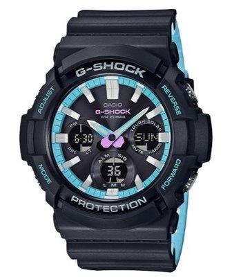 【萬錶行】CASIO G  SHOCK 霓虹藍 太陽能雙顯腕錶 GAS-100PC-1A 台南市