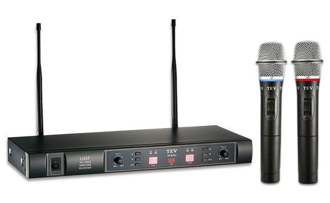 【昌明視聽】台灣電音 無線麥克風 雙頻道接收 TEV TR-632U UHF 32頻道數位對頻 附二支無線麥克風