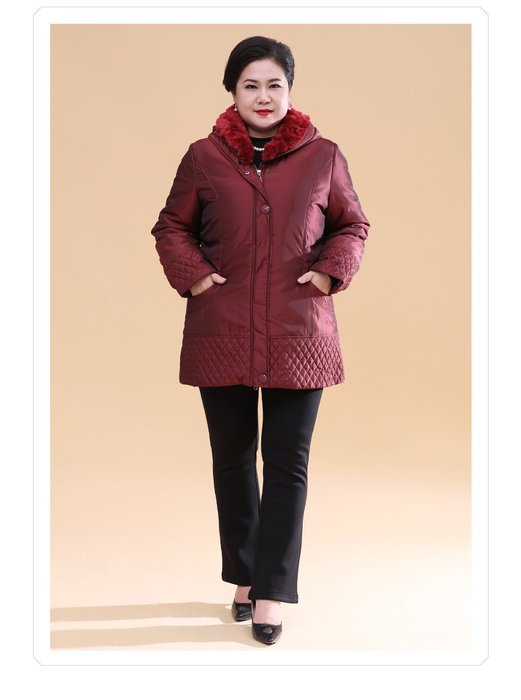 40641 磚紅連帽兩件套加厚羽絨服2XL-9XL秋冬婆婆裝媽媽裝風衣女裝外套大尺碼大碼超大尺碼