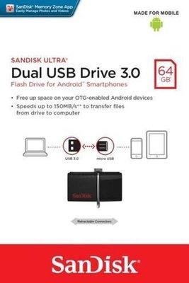 【新上市】SanDisk 64GB 64G OTG SDDD2-64G-GAM micro USB 手機平板隨身碟