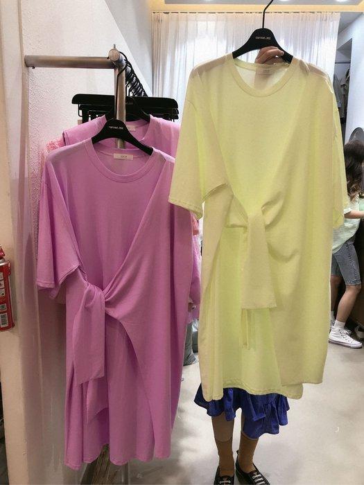 【17LOVE】正韓空運 東大門 CORNER302 不規則 綁帶純棉 中長袖 洋裝 純棉長版運動T 孕婦寬鬆粉螢光黃綠