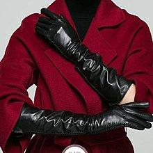 真羊皮手套 加長款可觸山羊皮手套 秋冬薄款加長款加絨絲裡