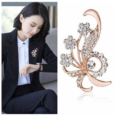 水晶胸針胸花韓國版女西裝領別針時尚首飾品生日禮物