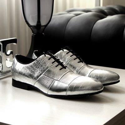 皮鞋 真皮休閒壓花尖頭鞋-歐美紳士高貴時尚男鞋73kv23[獨家進口][米蘭精品]