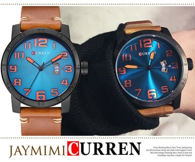 【JAYMIMI傑米】韓國直送 風格CURREN 數字 真皮風靡時代復古 腕錶 大錶鏡