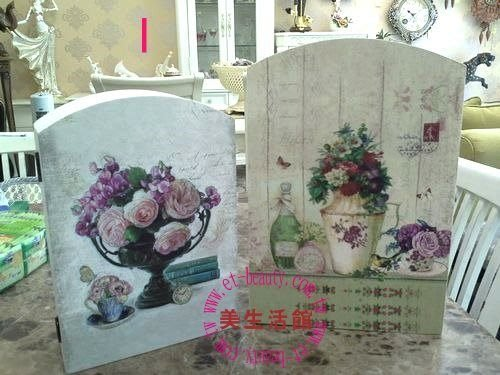 美生活館--全新鄉村生活雜貨ZAKKA ---玫瑰花瓶 圖案(大小兩尺寸) 鑰匙盒 KEYBOX 收納盒I