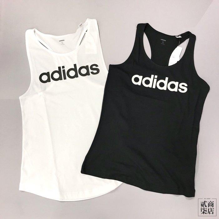 (貳柒商店) adidas Ess Linear Tank 女款 基本款 背心 棉質 黑 DP2359 白 DP2360