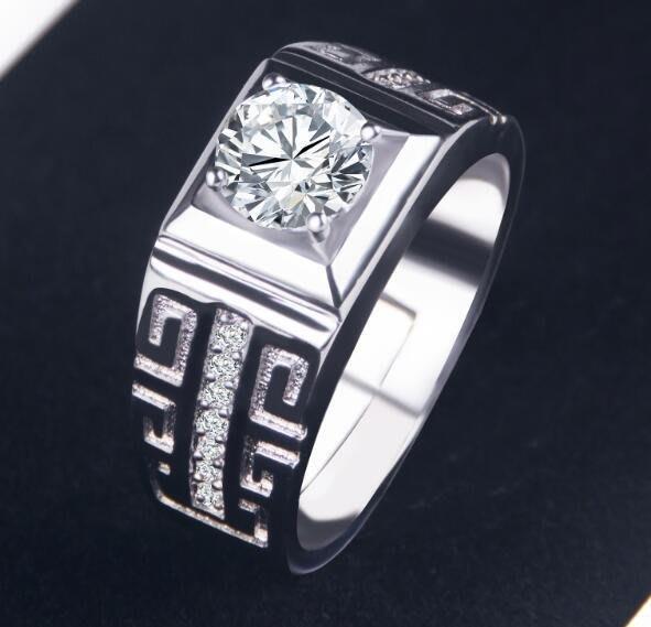 日韓時尚白金男款幾何鋯石水鑽可調式開口戒指情人節禮物生日禮物