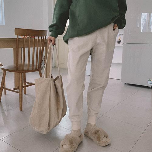 i-Mini 正韓|腰部鬆緊綁帶燈芯絨直紋縮口褲|3色‧ 韓國連線‧代購‧空運【12242626LY】