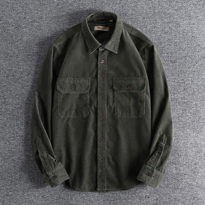 ☆MR.STORE.A☆日單復古水洗工裝雙口袋設計長袖襯衫(二色)~現貨+預購