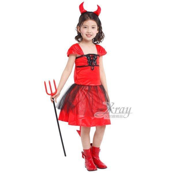 X射線【W271935】紅黑惡魔女,化妝舞會/惡魔角/尾牙/萬聖節/女巫/兒童變裝/cosplay/表演/攝影/寫真