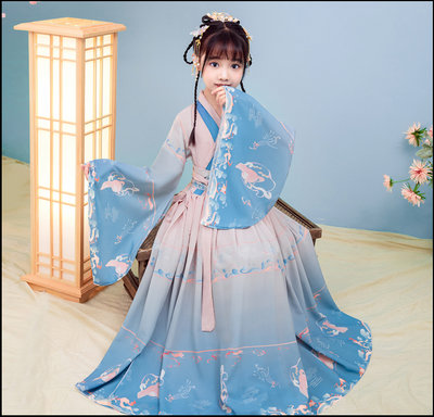 ~~Miss Goddess~~  女童古裝漢服兒童超仙長袖夏裝櫻花公主仙女連衣裙飄逸小孩演出服