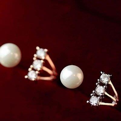 925純銀戒指 鑲鑽開口戒-時尚奢華百搭珍珠情人節生日禮物女飾品2色73dv15[獨家進口][巴黎精品]