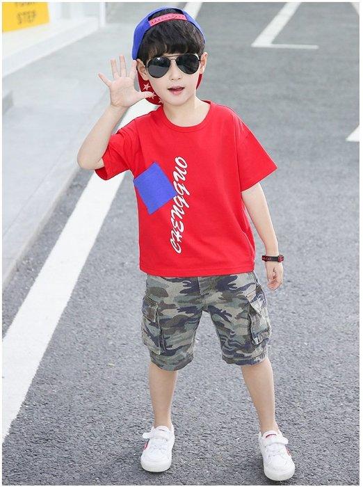 日韓歐美♥韓版 男童簡約款 貼口袋字母短袖上衣+迷彩帥氣款短褲 兩件式 休閒套裝【E886】