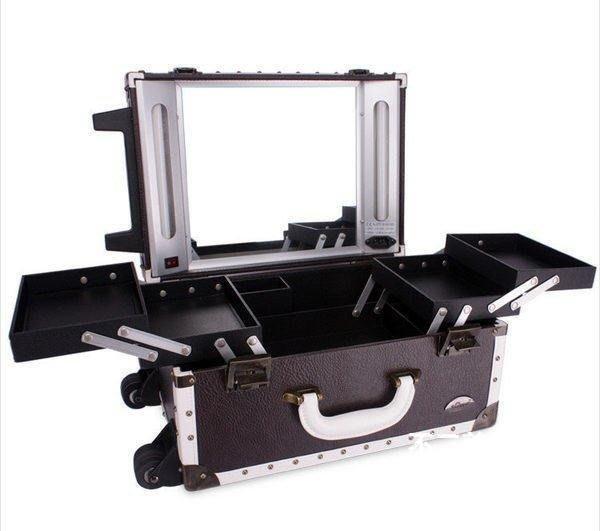 【格倫雅】^Sunrise 多層帶燈泡拉桿專業化妝箱 跟妝箱 BF396配燈711[D