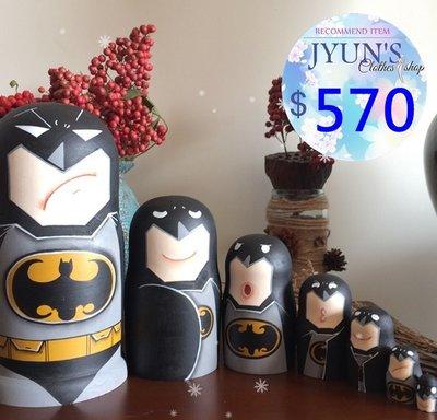 套件 實拍 俄羅斯套娃立體蝙蝠俠木製手繪傳統工藝品居家設計進口正品擺件裝飾品環保7層生日禮情人節禮物2色JYUN