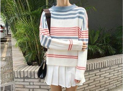 Color Fashion秋季韓版寬鬆條紋可愛套頭毛衣針織衫 G825138正韓女裝針織上衣女衣