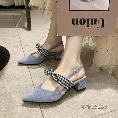 鞋子女2020潮鞋新款夏季涼鞋女百搭仙女風中跟包頭蝴蝶結粗跟女鞋