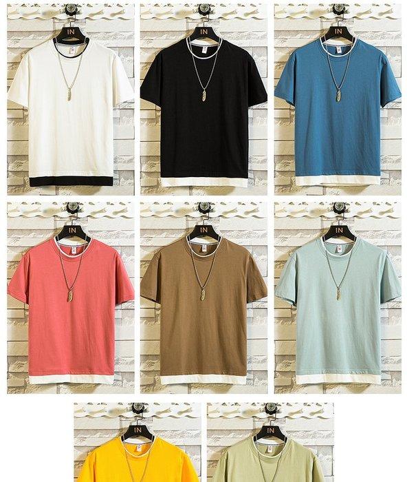[C.M.平價精品館]新品特價M~3XL清新舒適白邊滾領品味有型短袖T恤
