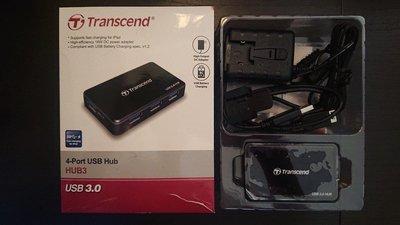 創見 極速 USB 3.0 4埠 HUB 集線器 附變壓器,支援Apple 快充(過保固)