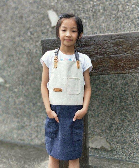 (佑祐時尚)兒童拼色圍裙 陶藝 美術 安親 幼兒園