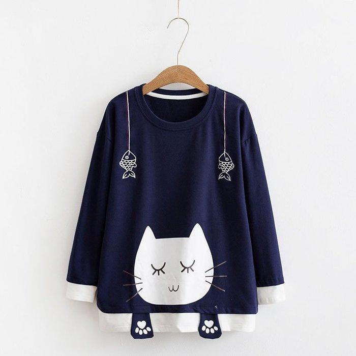 現貨【26028】長袖  日系森女系可愛大臉貓圓領T恤。☆*藍荳荳小舖*☆