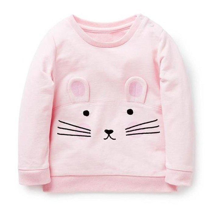 ☆草莓花園☆BM-1332  粉色翹耳朵貓咪  歐美風兒童長袖衣服 純棉童T 女童  童T恤