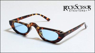 Rock scissors-[韓國製] 歐美英倫街頭 復古80s 金屬銀環造型 琥珀色x藍色海洋鏡片 小框方框太陽眼鏡