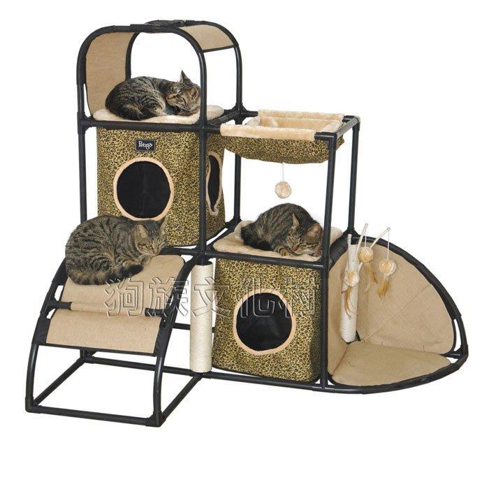 不可超取☆~狗族遊樂園~☆ IRIS《3883豪華森林豹紋貓跳台》組裝超簡單