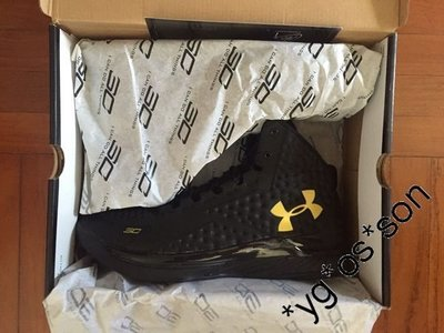 Under Armour Curry 1 Black & Gold Banner Stephen Curry Golden State Warriors
