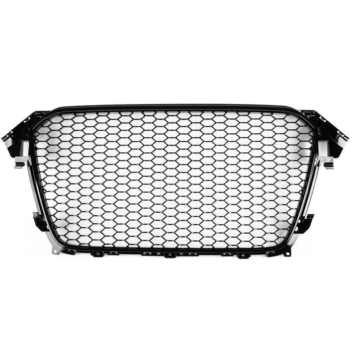 AUDI 奧迪 A4 S4 B8.5 13-16年 適用 RS4造型 水箱罩水箱護罩中網水柵 無倒車雷達 - 亮光黑