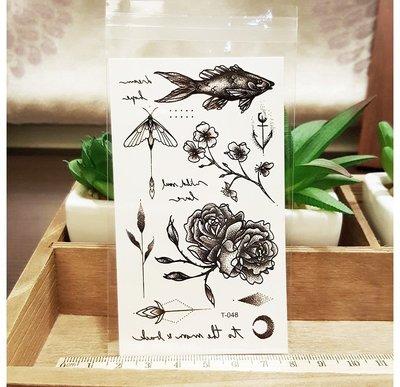 【萌古屋】綜合線條魚花朵 - 男女防水紋身貼紙刺青貼紙 T-048