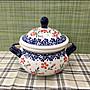 波蘭陶系列 陶瓷紅花有蓋糖果罐 雙耳濃湯碗...