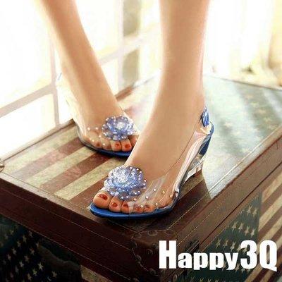 夏日度假透明果凍花朵低跟沙灘魚口涼鞋-紅/藍/黃/黑/米32-43【AAA0387】預購