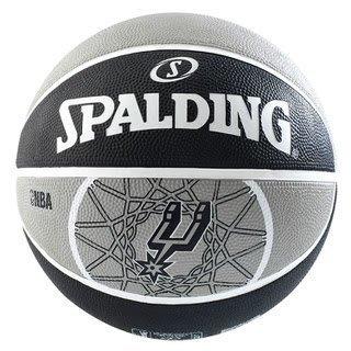 便宜運動器材【SPALDING】斯伯丁SPA83512(馬刺 Spur)黑灰  NBA 隊徽球系列 #7