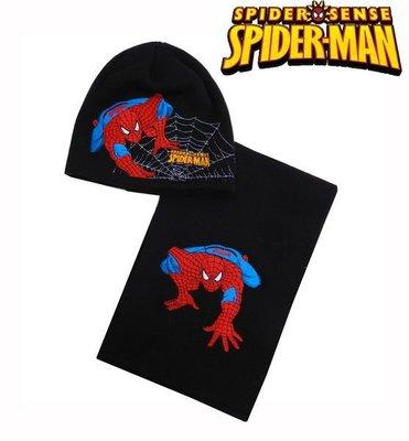 出口歐洲SPDIERMA蜘蛛人黑底攀爬款無綿絮毛線帽+圍巾套組(3~6歲適用)防寒大作戰~